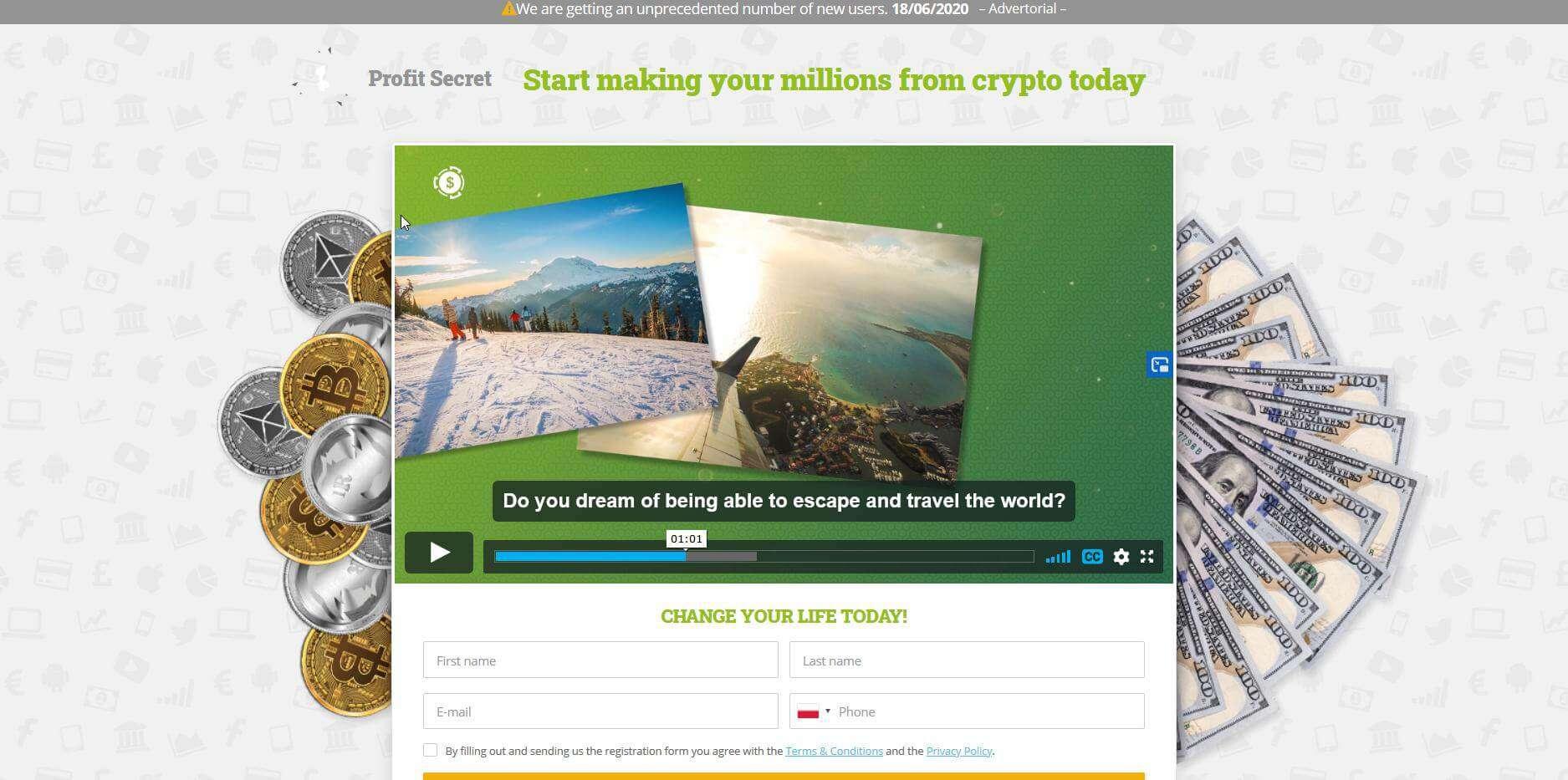 Pantalla de inicio de la aplicación Profit Secret